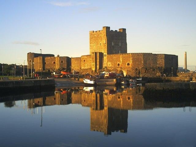 Carrickfergus Castle, reflections at sunset - geograph.org.uk - 1098306
