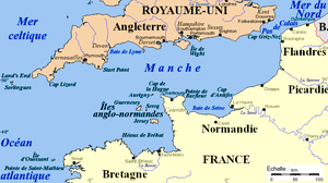 Franglais - Map of the English Channel, a natural barrier between French and English speaking communities