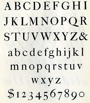 Caslon - Caslon 471 on a metal type specimen sheet. Caslon's larger-size fonts had two serifs on the 'C' rather than one.