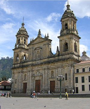 Bogotá Half Marathon - The Primary Cathedral of Bogotá overlooks the starting point on Bolívar Square