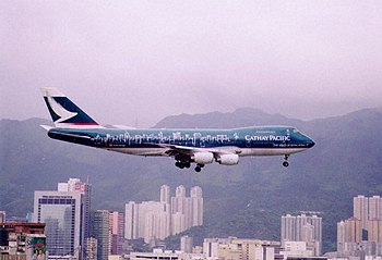 Cathay Pacific Spirit of Hong Kong B742 Kai Tak Final Approach.jpg