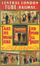 "A poster titled ""Central London (Tube) Railway"" with the sub-title ""Take The Twopenny Tube And Avoid All Anxiety"". It shows, in a series of illustrated panels, the ease with which passengers (in Edwardian dress) may purchase tickets, hand them in to the ticket collector, use the lift, board the train and the travel quickly to their destination. The railway's route from Shepherd's Bush to Bank is indicated in a simple line map."