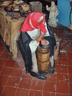 Churning (butter) - Churn with plunger    Ethnographic Museum of Western Liguria, Cervo, Italy
