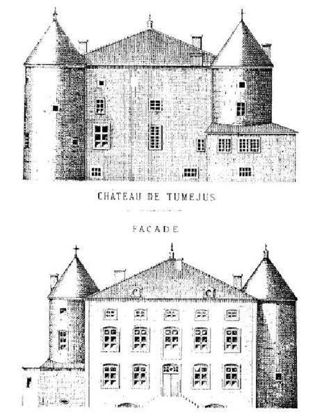 Croquis du château de Tuméjus (Bulligny, Meurthe-et-Moselle, Lorraine, France) réalisé par l'instituteur Etienne Dominique Olry (1874).