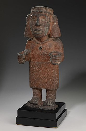Chalchiuhtlicue - Chalchiuhtlicue, unknown Aztec artist, 1200-1521, gray basalt, red ochre. Minneapolis Institute of Arts, 2009.33