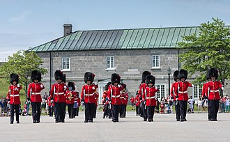 Guard mounting - Members of the Royal 22<sup>e</sup> Régiment during the changing the guard ceremony at La Citadelle in Quebec City, Canada.