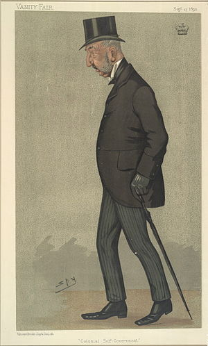 "Charles Adderley, 1st Baron Norton - ""Colonial Self-Government"". Caricature by Spy published in Vanity Fair in 1892."