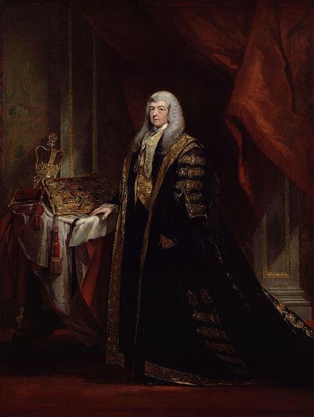 Charles Pepys as Lord Chancellor. The Lord Chancellor wore black and gold robes whilst presiding over the House of Lords. Charles Pepys, 1st Earl of Cottenham by Charles Robert Leslie.jpg