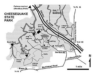 Old Bridge Township, New Jersey - Map of Cheesequake State Park in Old Bridge
