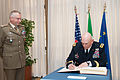 Chief of Staff of the U.S. Army Gen. Raymond T. Odierno, right, signs the Italian Army headquarters guest book as Italian Army Chief of Staff Lt. Gen. Claudio Graziano looks on May 2, 2013, in Rome 130502-A-AO884-132.jpg