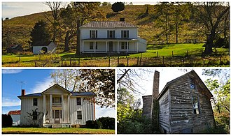 Childress, Montgomery County, Virginia - National Register of Historic Places located near Childress, Virginia. Top: Bowyer-Trollinger Farm; Bottom L-R: Thomas Hall House and Cromer House.