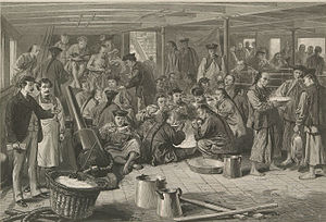 "History of Chinese Americans - Chinese emigration to America: sketch on board the steam-ship Alaska, bound for San Francisco. From ""Views of Chinese"""" published in The Graphic and Harper's Weekly. April 29, 1876"