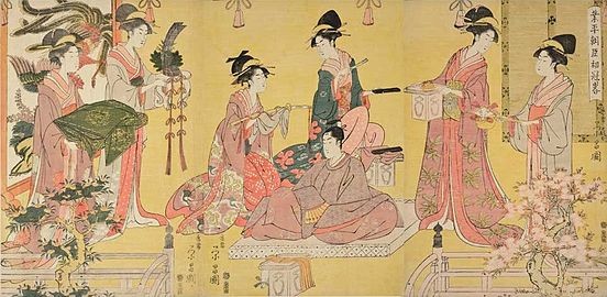 Chokosai Eisho (act. c. 1795-1801). 'Minister Narihira's Coming of Age,' Japan, Edo period (1615–1868), c. 1790s. Woodblock print; ink and color on paper. Gift of James A. Michener, 1991. (22064a-c).jpg