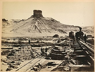 Green River, Wyoming - Construction of railroad bridge over Green River, 1868