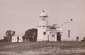 Clarence River Light - The original 1880 Clarence River Lighthouse with keeper's cottage to the left.