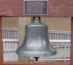 The bell of the former Bradley County Courthouse bell tower