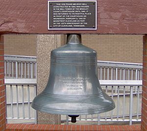 Bradley County, Tennessee - Meeleny Bell, located on the former Bradley County Courthouse from 1893 to 1963.