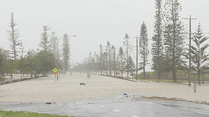 Cyclone Oswald - Tidal surge floods road in Cleveland, Queensland on 28 January 2013.