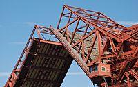 Close-up of raised bascule span of Broadway Bridge (Portland) in 2013.jpg