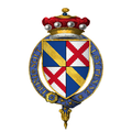 Coat of Arms of Sir John Scrope, 5th Baron Scrope of Bolton, KG.png