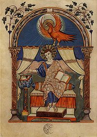 San Juan escribiendo el Evangelio