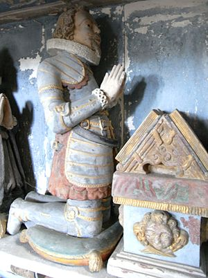 Great Fulford - Effigy of Col. Sir Francis Fulford (c. 1583 – 1664); detail from monument to his father, Fulford Chapel of St Mary's Church, Dunsford