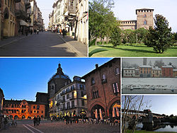 Top left:Corso Strada Nuova (Pavia New Avenue), main shopping area in Pavia, Top right:Veduta laterale sel Castello Visconteo (Pavia Visconti Castle), Bottom left:A view of the city's Cathedral from the Piazza della Vittoria (Vittoria Square), Bottom Upper right:Fiume Ticino, Bottom lower right:Ponte Coperto (Coperto Bridge) and Ticino River
