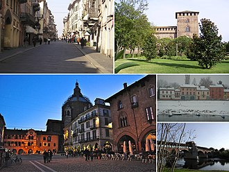 Pavia - Top left:Corso Strada Nuova (Pavia New Avenue), main shopping area in Pavia, Top right:Veduta laterale sel Castello Visconteo (Pavia Visconti Castle), Bottom left:A view of the city's Cathedral from the Piazza della Vittoria (Vittoria Square), Bottom Upper right:Fiume Ticino, Bottom lower right:Ponte Coperto (Coperto Bridge) and Ticino River