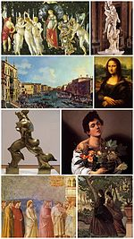 A collage of Italian art.