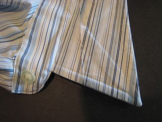 Collar stays - Underside of a men's shirt collar showing removable collar stay