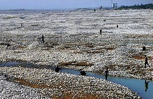 Chinese jade - Collecting jade in the White Jade River near Khotan