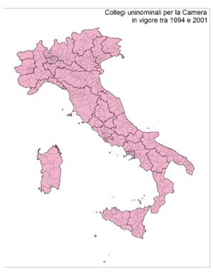 Italiano: Cartina dei 475 collegi uninominali ...