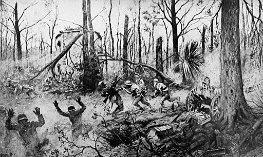 World War I: The fight of the U.S. Marines in Belleau Wood. From the painting by the French artist Georges Scott. Public Domain.