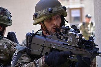 Slovenian Ground Force - A Slovene soldier with an FN F2000 assault rifle.