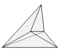 Concave hexahedron with 6 triangular sides, 9 edges, 5 vertices.png