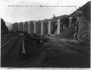 Constr. of Caucasus RR; view of Senski Viaduct from Beschutaban station. ca. 1890s.jpg