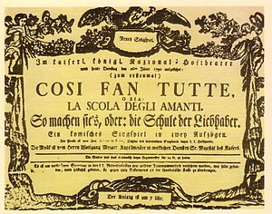 Così fan tutte - Playbill of the first performance
