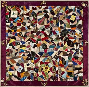 Crazy quilting - Rebecca Palmer. Crazy Quilt, 1884. Silk, velvet. Brooklyn Museum