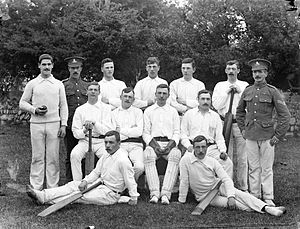 Cricket in Ireland - Irish soldiers, probably of the Royal Artillery, in cricket gear, Waterford, May 1909