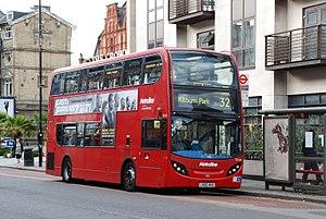 Cricklewood Broadway, The Crown. TE1104. Route 32 to Kilburn Park Station.jpg