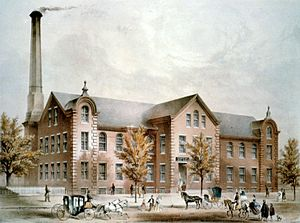 Crompton Loom Works - A 19th century print depicting the Crompton Loom Works