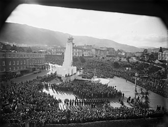 Wellington Cenotaph - Crowd surrounding the Cenotaph, Wellington, at the dedication ceremony in 1932.