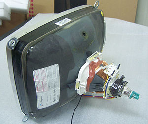 A 14-inch cathode ray tube showing its deflection coils and electron guns Crt14.jpg