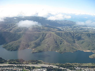 Crystal Springs Reservoir - Lower reservoir looking west to Montara Mountain and Pacifica