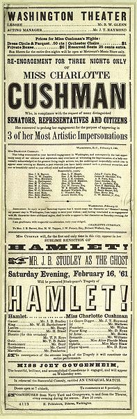 Newspaper advertisement for the Washington Theater's performance of Hamlet featuring Charlotte Cushman.