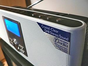 Digital radio in the United Kingdom - A typical DAB digital radio receiver with the Digital Radio Development Bureau DAB digital radio marketing logo