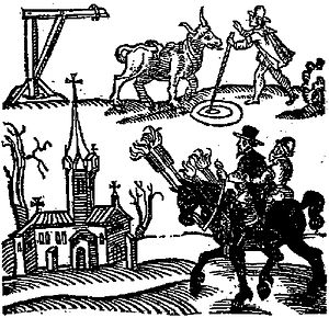 black and white composite of man with cow, gallows, church and two men astride a black horse