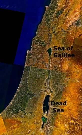 Dead Sea - Satellite photograph showing the location of the Dead Sea east of the Mediterranean Sea