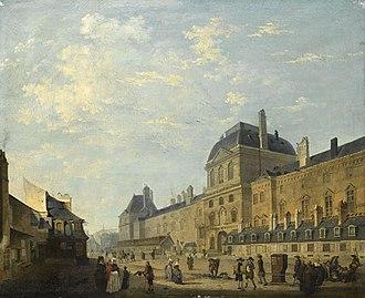 Pavillon de l'Horloge - Image: Debucourt Louvre facade seen from rue Fromenteau
