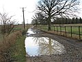 Deep puddles on the road to West Harling - geograph.org.uk - 1709188.jpg